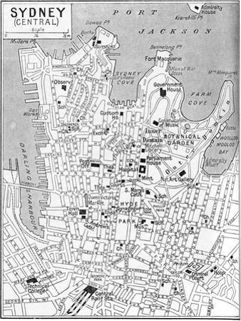 Map of Central Sydney, New South Wales, Australia, C1924