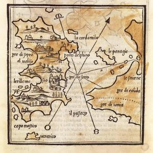Map of Chios Island, Greece by Benedetto Bordone, 1460-1531