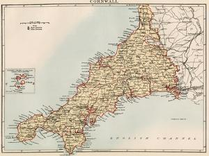 Map of Cornwall, England, 1870s