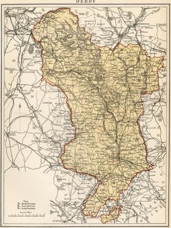 Map of Derbyshire, England, 1870s