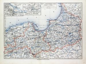 Map of East and West Prussia Königsberg (Kaliningrad Russia) and Danzig (Poland) 1899