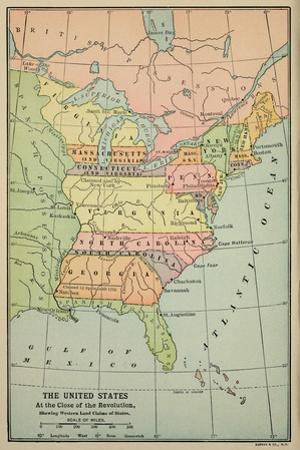 Map of Eastern North America with State Borders Extending to Mississippi, 1783