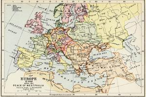 Map of Europe in 1648 after the Peace of Westphalia