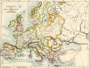 Map of Europe in the Time of Charlemagne, 768-814 Ad