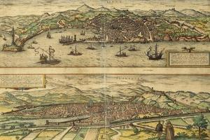 Map of Genoa and Florence from Civitates Orbis Terrarum