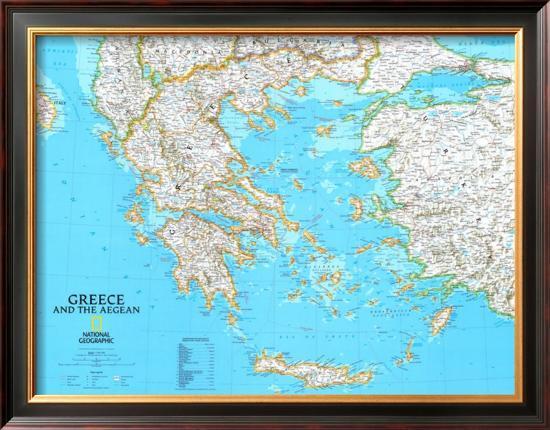 Map of Greece--Framed Art Print