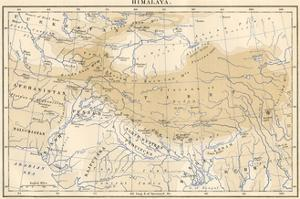 Map of Himalaya Region of Asia, 1870s