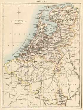 Map of Holland, 1870s