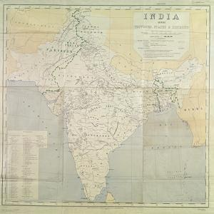 Map of India at Independence, 1947