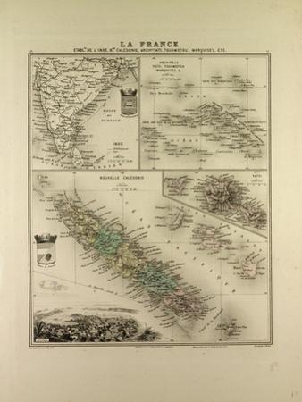Map of India New Caledonia Tahiti Tuamotu Archipelago Marquesas Islands 1896