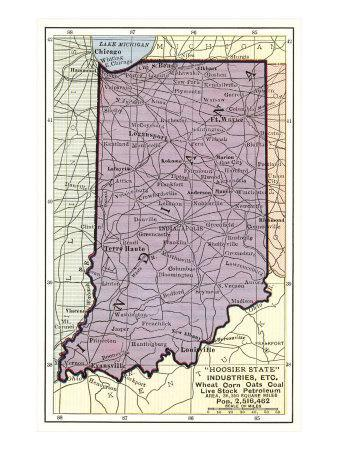 Maps Of Indiana Posters At AllPosterscom - Map if indiana