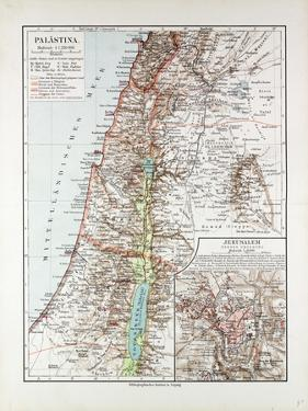 Map of Israel Jerusalem the Southern Part of Syria Lebanon the Western Part of Jordan 1899