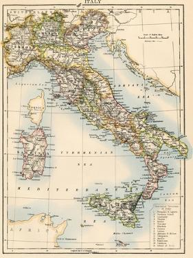Map of Italy, 1870s