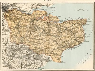 Map of Kent, England, 1870s