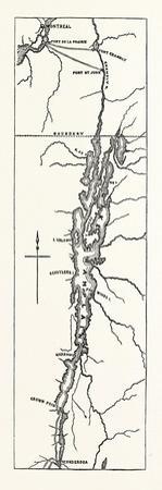 Map of Lake Champlain, USA, 1870s