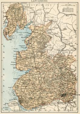 Map of Lancashire, England, 1870s