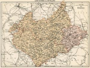 Map of Leicestershire and Rutland, England, 1870s