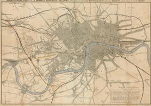 Map of London Showing the Birmingham, Bristol, Thames Junction Railway, 1839