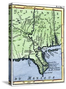 Map of Louisiana, 1744, Showing the Mouths of the Mississippi River While Part of New France