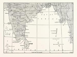 Map of Lower India and Ceylon, Sri Lanka