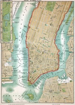 Map of Lower Manhattan and Central Park