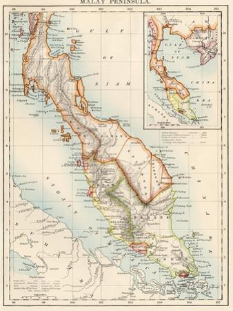 Map of Malay Peninsula, 1870s