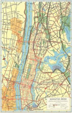 Map of Manhattan and Bronx, New York