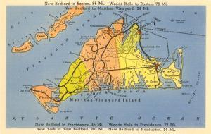 Map of Martha's Vineyard, Massachusetts