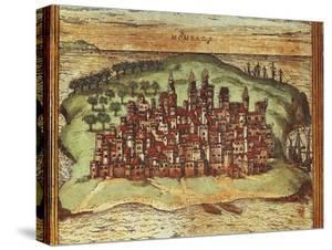 Map of Mombasa, Kenya, from Civitates Orbis Terrarum by Georg Braun and Franz Hogenberg