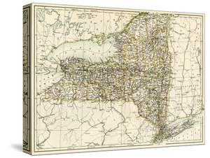 Map of New York State, 1870s