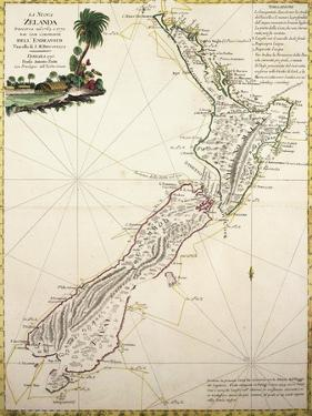 Map of New Zealand by Antonio Zatta According to Discoveries of James Cook, Venice 1778