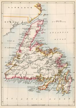 Map of Newfoundland, Canada, 1870s