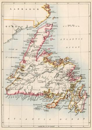 Map of Newfoundland, Canada, 1870s