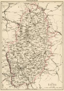 Map of Nottinghamshire, England, 1870s