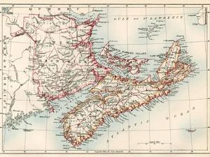 Map of Nova Scotia, Prince Edward Island, and New Brunswick, 1870s