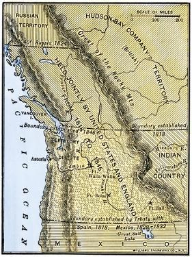 Map of Oregon Territory Showing Boundary of U.S. with English Canada under Dispute
