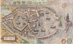 Map of Ostia, Ancient Rome, from Civitates Orbis Terrarum