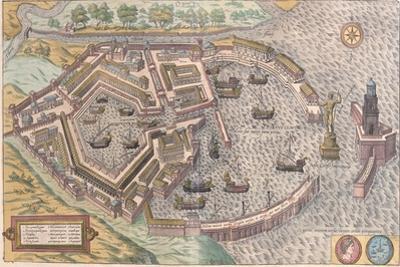 Map of Ostia, Ancient Rome, from Civitates Orbis Terrarum
