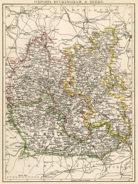 Map of Oxfordshire, Buckinghamshire, and Berkshire, England, 1870s