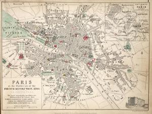 Map of Paris at the Outbreak of the French Revolution, 1789