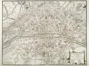 Map of Paris, from 'L'Atlas De Paris' by Jean De La Caille, 1714