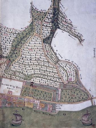 Map of Park and Villa of Bettoni Counts in Bogliago, Gargnano, Lake Garda, Italy, 18th Century