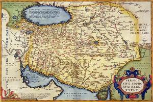 """Map of Persia, from the """"Theatrum Orbis Terrarum"""", Pub. by Abraham Ortelius Antwerp, circa 1590"""