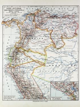 Map of Peru Ecuador Venezuela and Columbia 1899