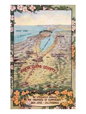 Map of Santa Clara County, San Jose, California