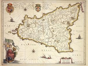 Map of Sicily Region, by Joan Blaeu