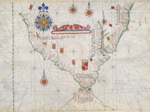 Map of South America and Strait of Magellan from Luis Lazaro's World Atlas, 1563