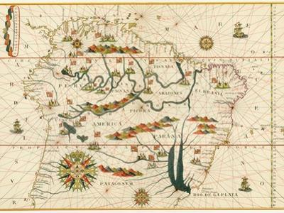 Map of South America from the Spanish Atlas Executed at Messina in 1582 by Joan Martines