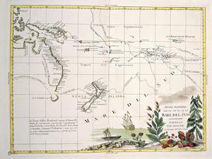 Map of South Seas, New Zealand, New Guinea, New South Wales, Society Islands