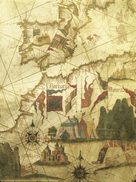 Map of Spain and Morocco Coast, by Diego Homen, from Portolan Chart, 1557